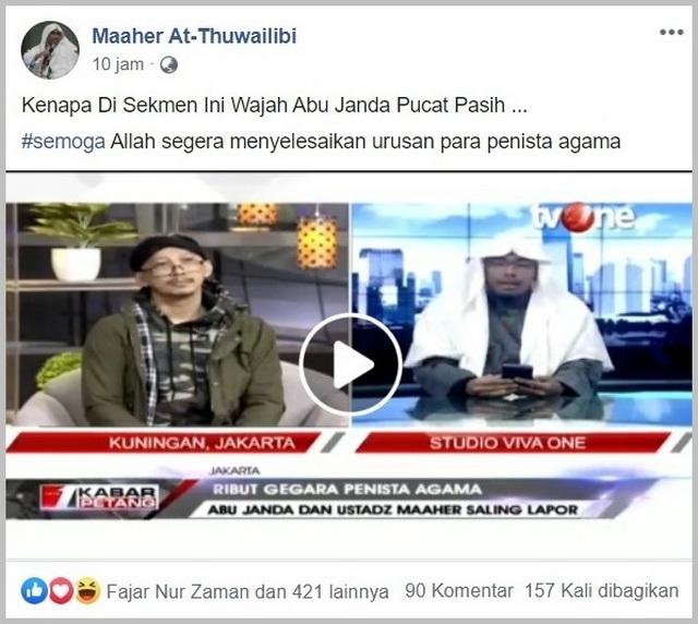 Berhadapan Ustadz Maaher Kok Abu Janda Pucat Pasi Takut Mati Portal Islam