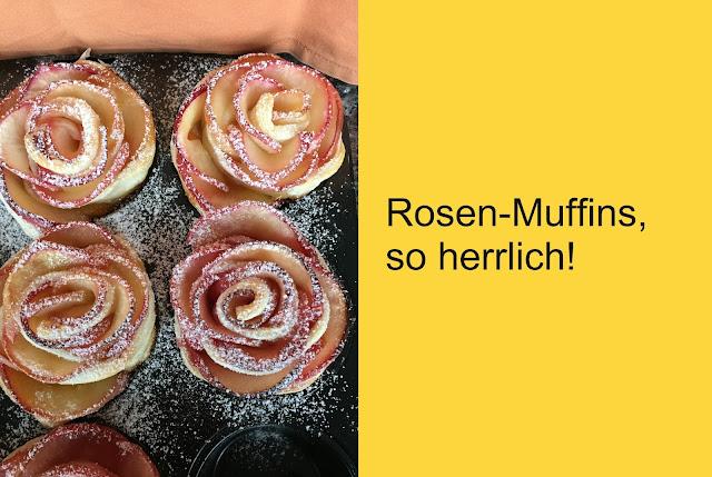 Rosen-Muffins mit  Mirabellen Konfi und Äpfeln
