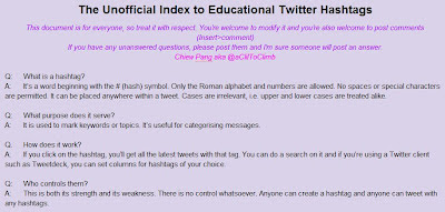 Twitter education hashtags index