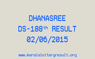 DHANASREE DS 188 Lottery Result 2-6-2015