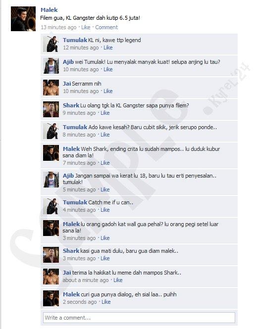 Update status facebook (KL gangster dan Kongsi Filem), status facebook yang kelakar, funny update status,
