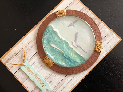 Hand made sea view porthole birthday shaker card
