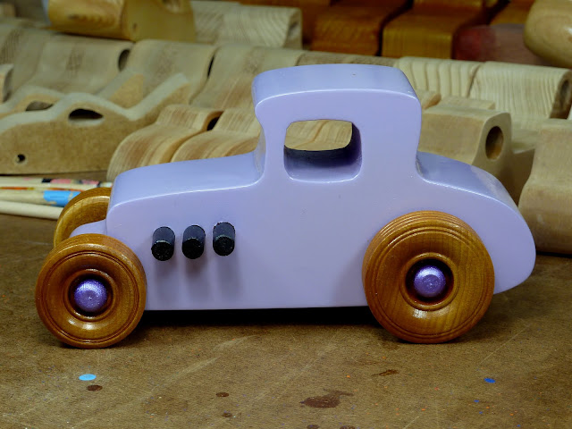 20170522-190140 Wooden Toy Car - Hot Rod Freaky Ford - 27 T Coupe - MDF - Lavender - Amber Shellac - Metallic Purple 03