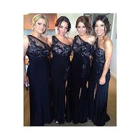 One Shoulder Applique Floor Length Bridesmaid Dress With Side Split