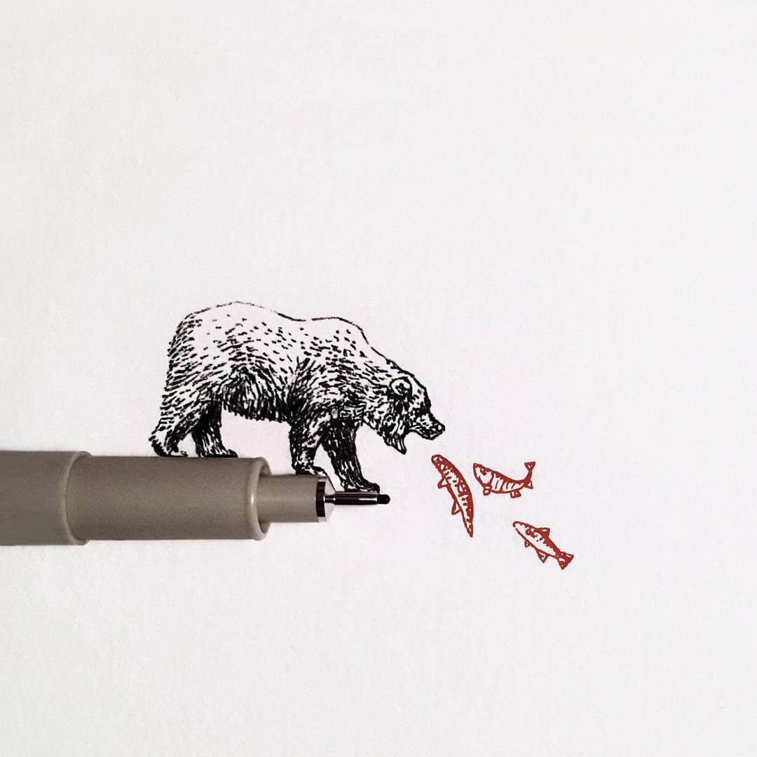 10-Grizzly-Bear-and-Salmon-Bryan-Schiavone-Tiny-Animals-in-Pen-and-Ink-Drawings-www-designstack-co
