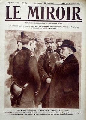 """Le Miroir du 14 février 1915: """"L'infatigable chercheur qui découvrit la mélinite et auquel notre artillerie doit une large part de ses succès, est allé rendre visite à nos soldats. Le voici conversant avec des officiers et des sous-officiers."""""""