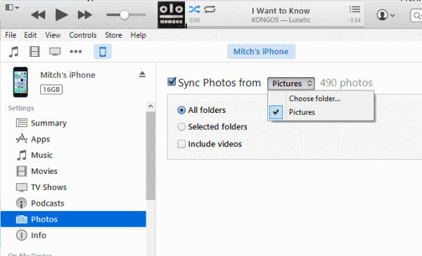 copy photos from iPhone to Windows PC