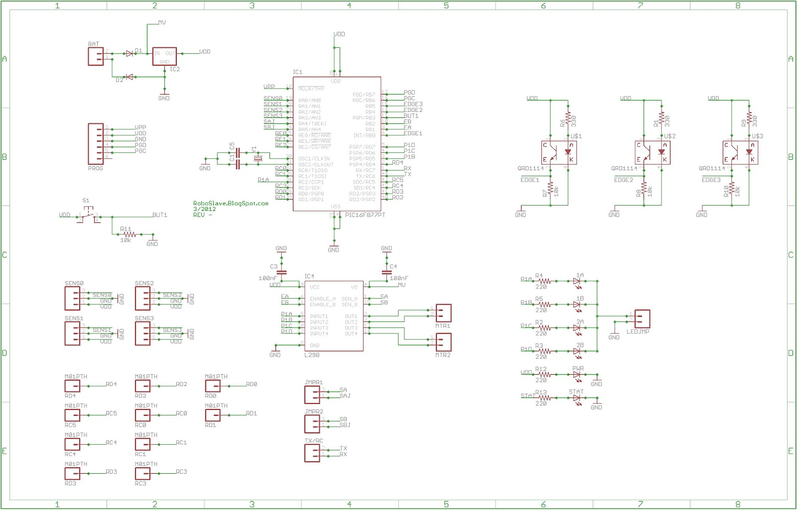 RoboSlave: Sumo Bot Schematic and Printed Circuit Board (PCB)
