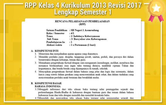 Download RPP Kelas 4 Kurikulum 2013 Revisi 2017 Semester 1 Terlengkap