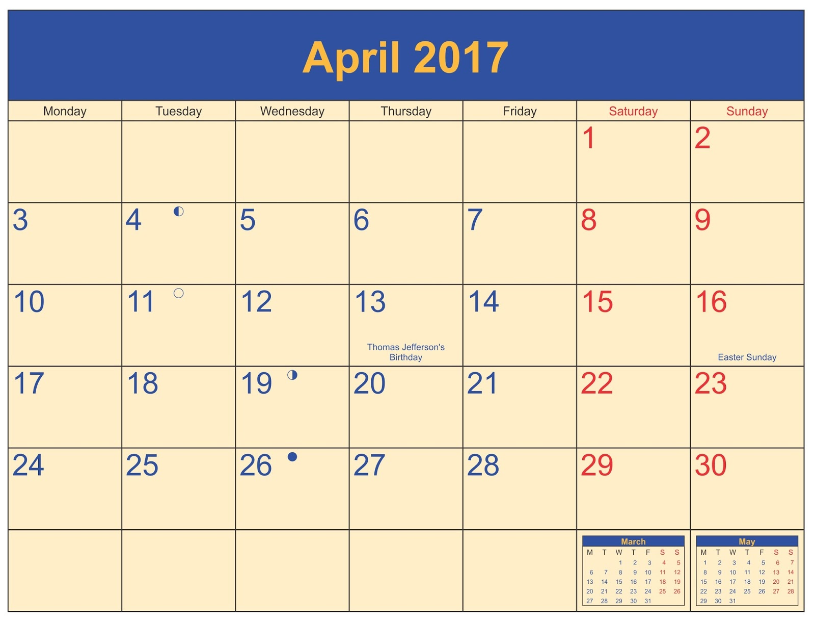 april 2017 printable calendar templates