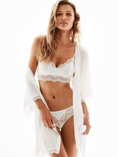 H&M Soft-Cup Lace Bra, Lace Briefs and Satin Kimono