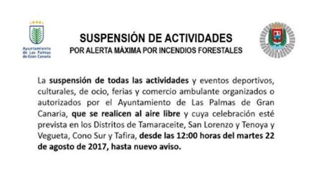 Alerta máxima Las Palmas G.C. riesgo incendios forestales
