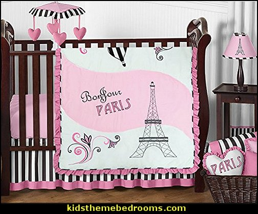 Pink, Black and White Stripe Paris Baby Girl Bedding French Eifell Tower Crib Set  paris bedroom - Paris themed bedroom ideas - Paris style decorating ideas - Paris themed bedding - Paris style Pink Poodles bedroom decorating -  French theme Paris apartment furniture - Paris bedroom decor - decor Paris style French Poodles - room decor french poodle - Paris Postcard bedding - Paris themed teenage bedroom ideas - Paris eiffel tower decor - decorating ideas for paris themed bedrooms - Paris Inspired Nursery - Paris bedrooms - Poodles in Paris