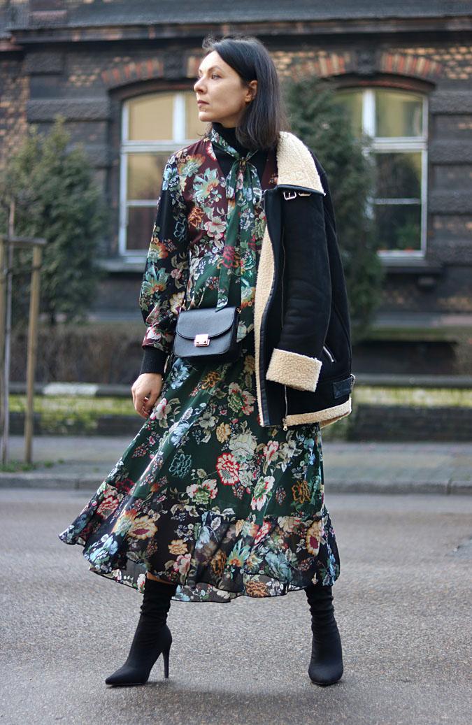 sukienka i kożuch stylizacje 2018