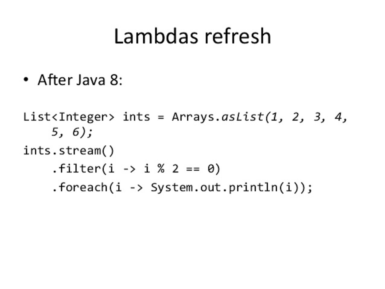 Java 8 Foreach Loop Example