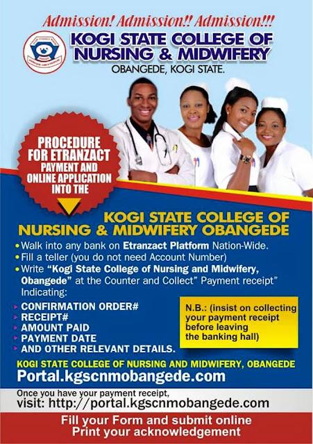 Kogi State College of Nursing & Midwifery Obangede Form 2020/2021