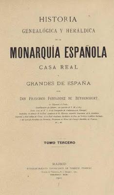 Portada de Historia genealógica y heráldica, de Fernández de Bethencourt