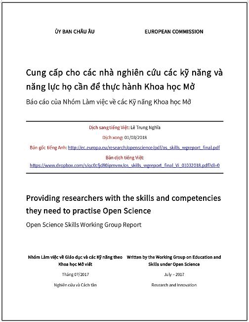 'Cung cấp cho các nhà nghiên cứu các kỹ năng và năng lực họ cần để thực hành Khoa học Mở' - bản dịch sang tiếng Việt