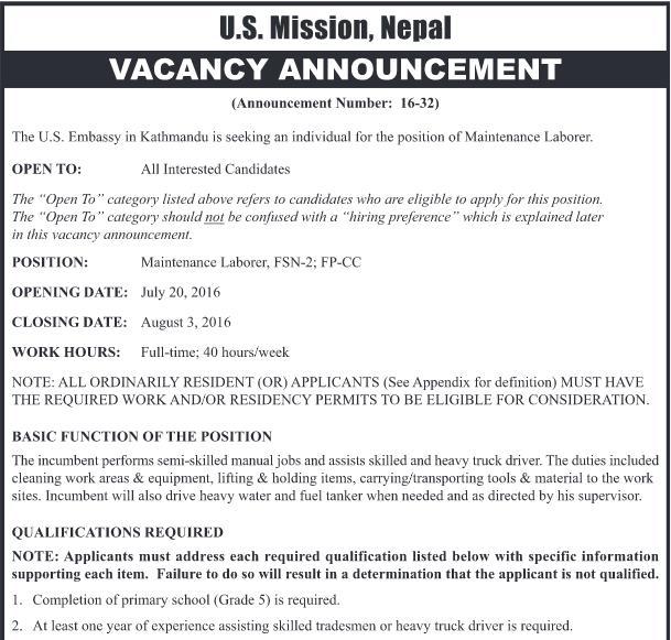 Jobs Vacancy In U.S. MISSION, NEPAL