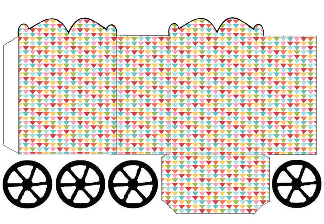 Colored Triangles: Princess Carriage Shaped Free Printable Box.