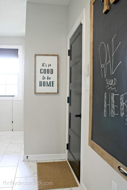 Marble tile black door