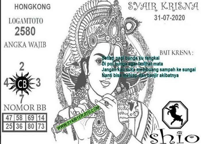 Kode syair Hongkong Jumat 31 Juli 2020 308
