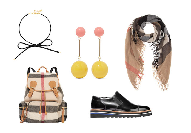 Рюкзак, длинные серьги, чокер, шарф и броги для капсульного гардероба в повседневном стиле Casual