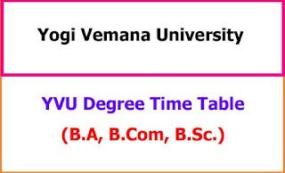 YVU Degree Exam Time Table 2021