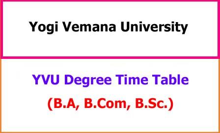 YVU Degree Exam Time Table