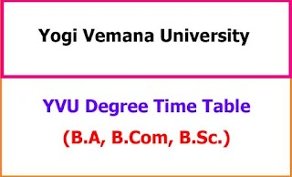 YVU Degree Exam Time Table 2021 - BA BCom BSc BCA BBA