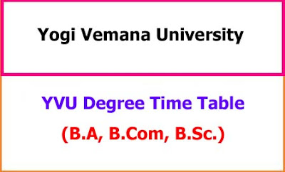 YVU Degree Exam Time Table
