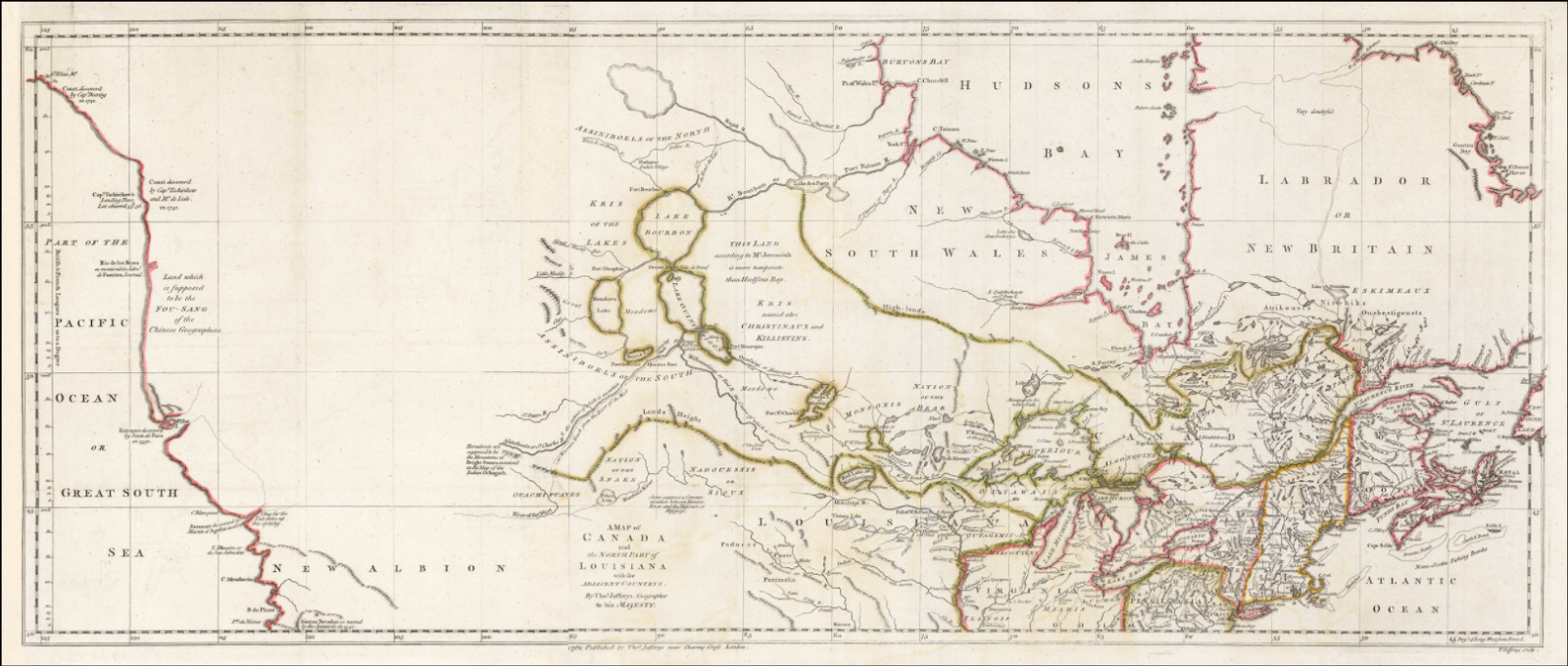 this 1762 map by thomas jefferys titled a map of canada and the north