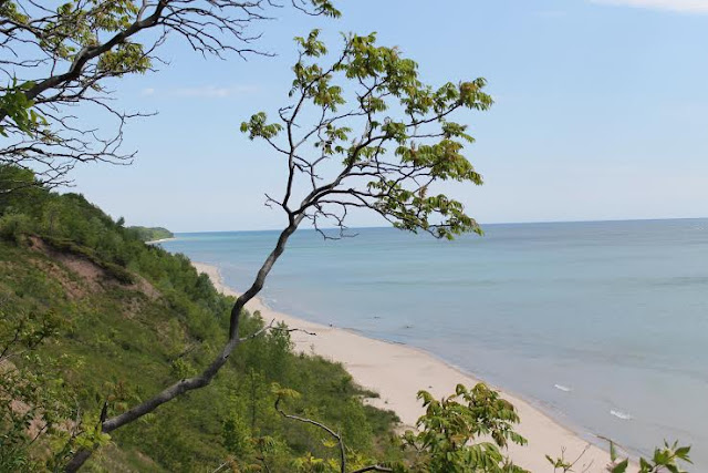 Bluffs of Port Washington, Wisconsin with a view of Lake Michigan
