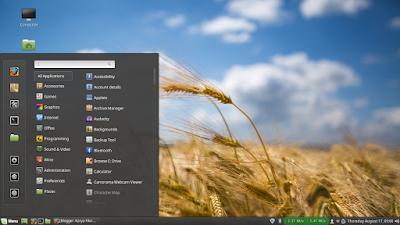 Tampilan depan linux mint + start menu - karyafikri.blogspot.com