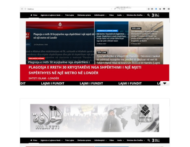 ISIS site in Albanian language screenshoot