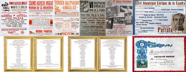 Perrate de Utrera tuvo una intensa actividad antes de su efermedad en los primero festivales, acrecentados en el eje utrera, Lebija y Morón de la Frontera. El Potaje Gitano de Utrera, el Gazpacho Andaluz de Morón de la Frontera y La Caracolá de Lebrija lo elegías asiduamente un año tras otro para conformar sus caterteles artísticos.