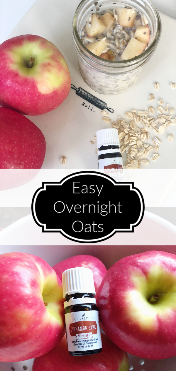 Use apples and cinnamon essential oil to spice up your overnight oats
