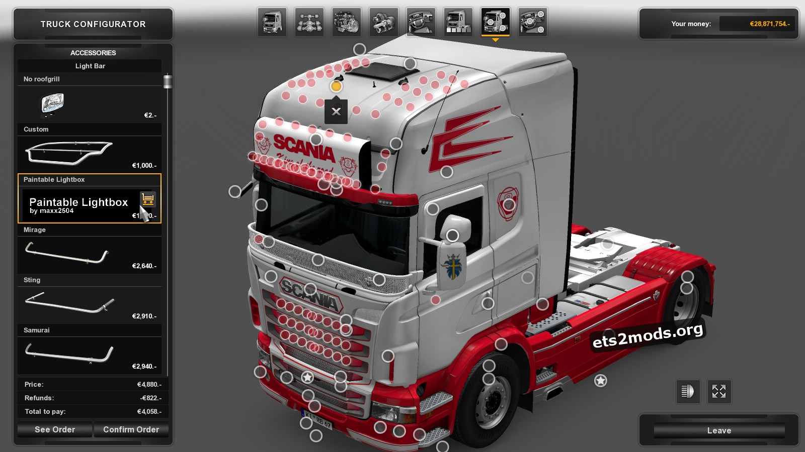 Scania RJL White & Red Skin + Accessory