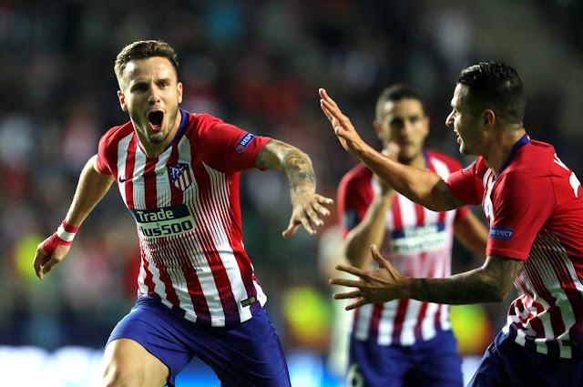 Saul celebrates his goal during Real Madrid 2-4 Atletico Madrid