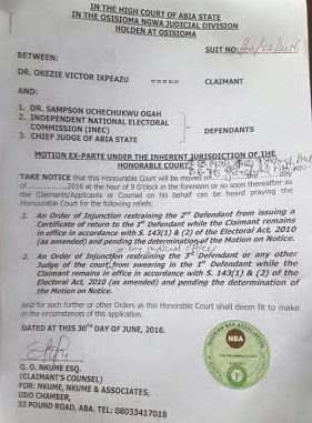 court stops Uche Ogah from being sworn in as governor of Abia state