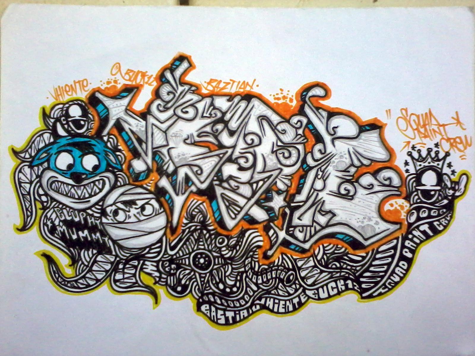 Gambar graffiti kertas 3d