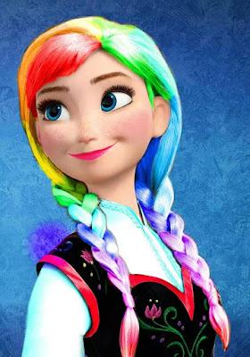 Frozen Pelangi Rainbow Rambut Warna Warni Putri Anna