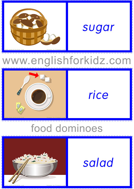 Food domino game to play and learn English