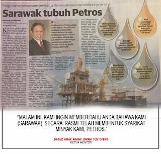 Petros & Lebuhraya Pan Borneo Adalah Harapan Sebenar Rakyat Sarawak