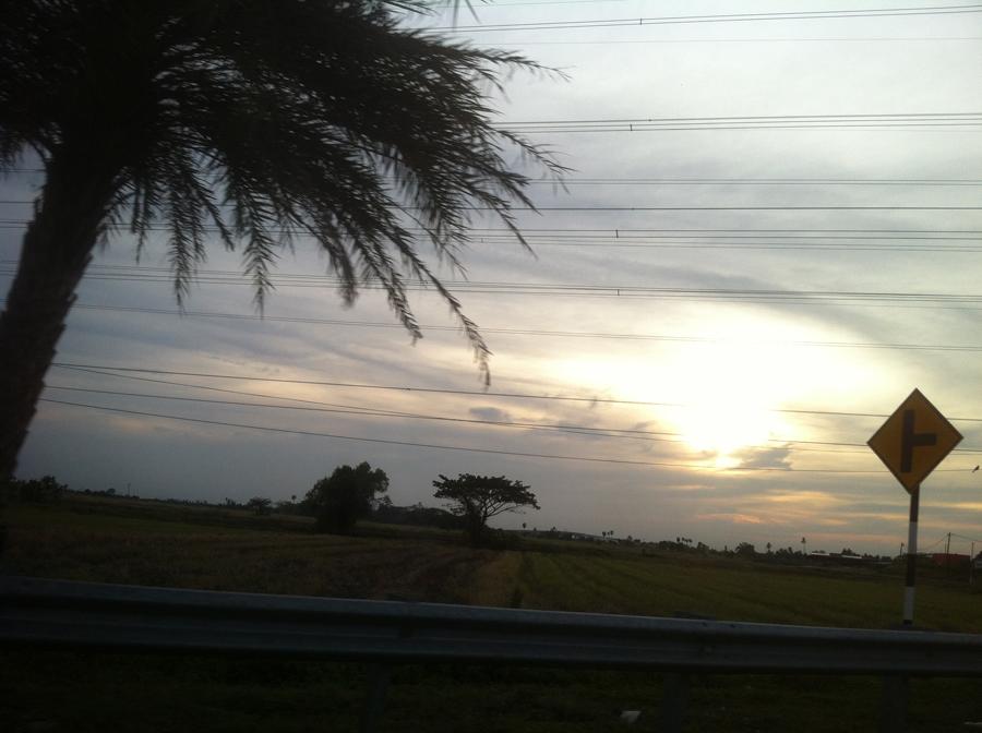 view, sunset,