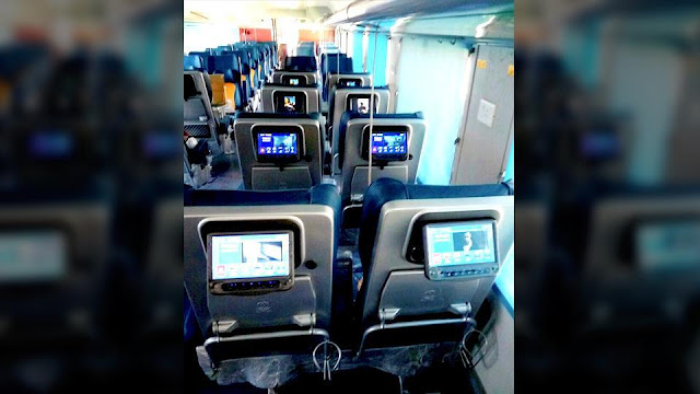 Seats of Tejas Express coaches is equipped with LCD screens.(PTi Photo)