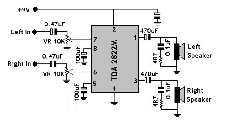 elektronika-analog: Mini Stereo Audio Amplifier TDA2822M
