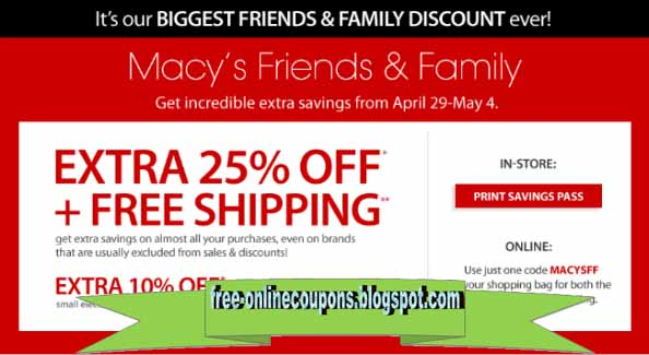 Free Shipping Promo Discount During some of the best sales, you will see free shipping promotions where Macy's will offer free shipping at a lower threshold than the usual $99 requirement. The best offer we have ever seen was free shipping with no minimum purchase, but it is incredibly rare and was never offered before