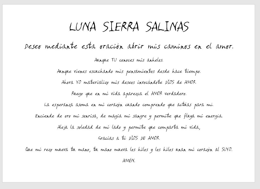 Luna Sierra Salinas oración AMOR