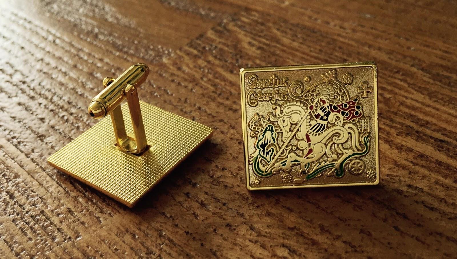 Manžetové knoflíčky se svatým Jiřím a drakem (zlatá varianta)